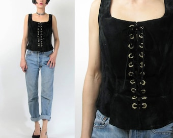 1990s Black Leather Tank Top Suede Leather Top Sleeveless Sexy Lace Up Front Corset Biker Black Leather Vest Rhinestones (S/M) E6073