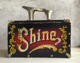 Vintage painted wood shoe shine box with metal shoe plate, 5-cent shoe shine, carnival prop, wood shoe box, circus decor, word SHINE sign