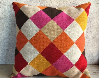 Midcentury modern MOD throw pillow, 16 x 16 geometric needlepoint pillow, retro pillow, red pink orange golden groovy 70s kitsch decor