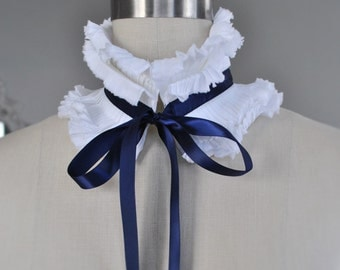 NEW White and navy ruffle collar/Hand pleated collar/Detachable collar/Pleated Collar/Neck ruffle/Couture neck/Ascot collar/ rusteam