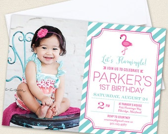 Flamingo Party Photo Invitations - Professionally printed *or* DIY printable