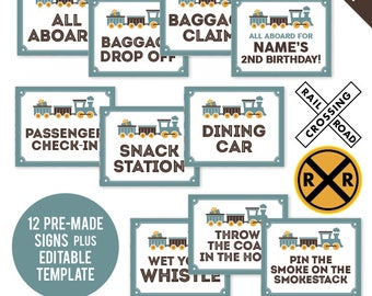 INSTANT DOWNLOAD Vintage Train Party Signs - Printable 8x10 Signs plus Cut-Outs and Bonus EDITABLE Sign!