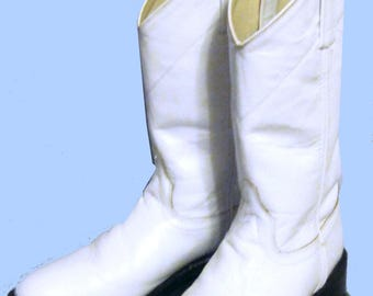 Women's Vintage 80's White Roper Boots, byOld West, Sz 9