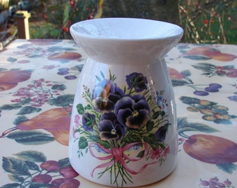 Beautiful Purple Pansies! Ceramic Tea Light Tart Burner