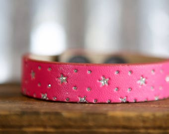 CUSTOM HANDSTAMPED CUFF   - bracelet - personalize by Farmgirl Paints - pink cuff with silver glitter stars