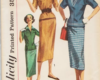 Simplicity 2180 / Vintage 1950s Sewing Pattern / Skirt Overblouse Blouse Jacket Suit / Size 13 Bust 33