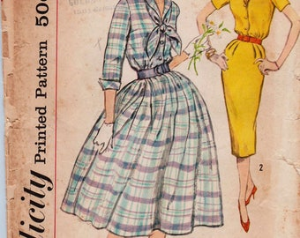 Simplicity 2580 / Vintage 50s Sewing Pattern / Shirtwaist Dress / Size 12 Bust 32