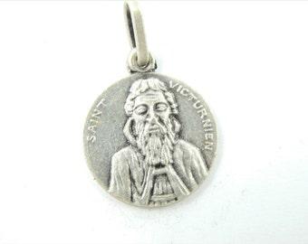 RARE Vintage Saint Victurnien Catholic Medal - Religious Charm - Bracelet Charms - Rosary Supplies - Z44