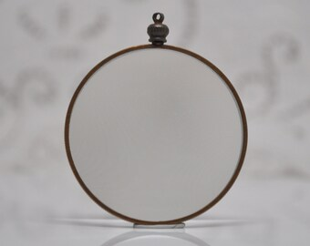 Large Vintage Two Sided Glass Locket Gold Toned Rare for Personal Images 44 mm or 1 3/4 Inches Diameter