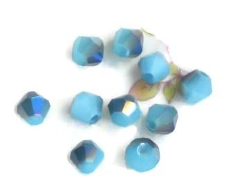 Aurora Borealis Glass Beads Faceted bicone AB loose Spacer Aqua 6mm Shabby Chic Cottage Mini Petite. #1597G