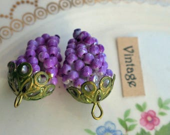 Grape clusters, Earring parts,Vintage Grape Charm,Pendant Pearl Filigree Drops Dangles Charms Purple Two Tone Purple Whimsical #1154S