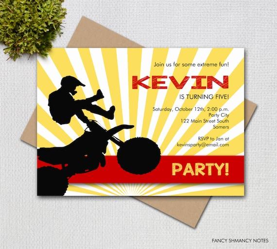 Dirt bike birthday invitation in yellow and red printable digital il570xn filmwisefo