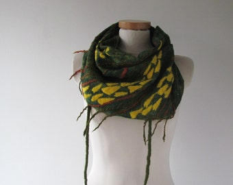 Felted Triangle scarf Wool Scarf  baktus accessory Felted Triangle Scarf felt baktus Green Yellow  Ready to ship