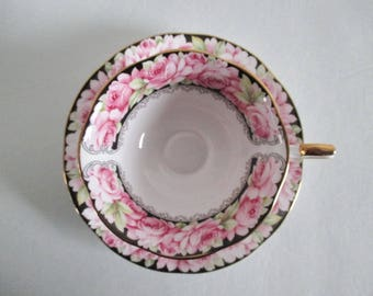 Queen's Rosina Elizabeth Rose Tea Cup & Saucer Pink Roses on Black Gold Gilt
