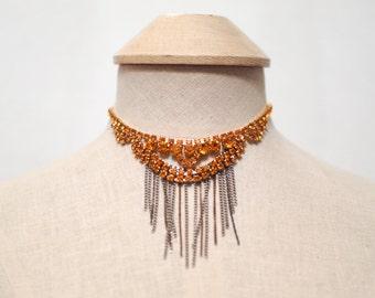 Orange Fringe Statement Necklace