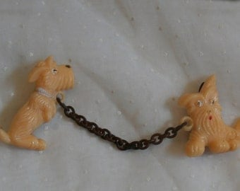 Old Vintage Scotty or Westie Terrier Sweater Pin Brooches, Celluloid or Similar Plastic, Novelty Collar Pins Dog Brooch