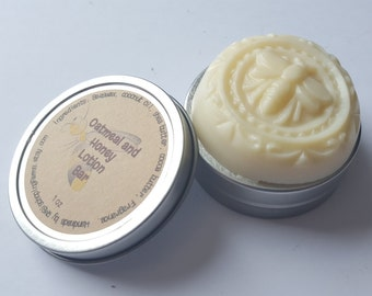Oatmeal Milk and Honey Beeswax Lotion Bar with Tin, Solid Lotion Bar, Storage Tin, Natural, Scented