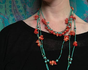 Coral and turquoise Necklace - Great gift for her!