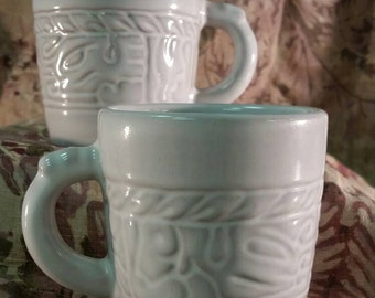 Pair Frankoma White Sand Mayan Aztec Mugs