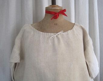 Antique French hemp chemise, nightie, night shirt, smock, dress, excellent condition, festival, boho chic