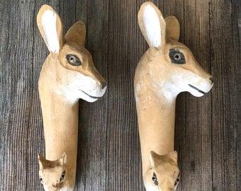 Vintage Carved Wood Deer Wall Hooks Stocking Hooks Glass Eyes