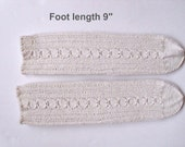"""Socks cotton 100%  hand knit. Non elastic diabet friendly socks . Foot  length 9"""" . Cabled design and reinforced heels. Ready to ship."""