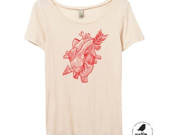 Womens Anatomical Heart Shirt, Bamboo, Organic Cotton, Women Heart Shirt, Heart & Arrow Tshirt, Tattoo Shirt - Small, Medium, Large, XL, 2X