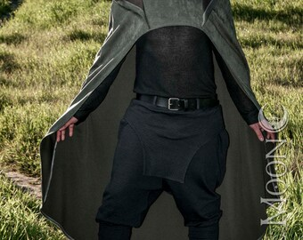 NEW: Men's Convertible Cape with Hood in Micro Suede by Opal Moon Designs (One Size Fits All)