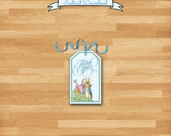 Peter Rabbit Favor Tag / Baby Shower, Sip & See, Birthday / Blue Stripes, Bunny, DIY, Matching Invite, Thank You, Diaper Raffle, Book Card