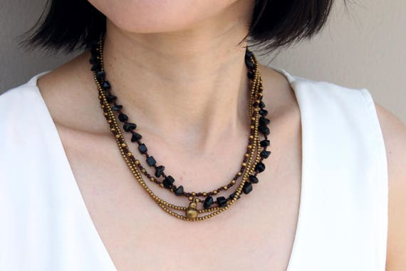 Beaded Woven Necklace Black Onyx Strand Brass Layered