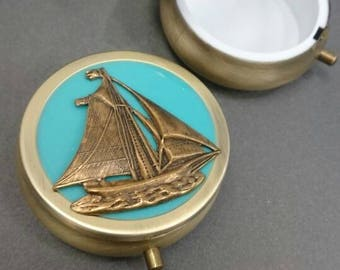Sail Boat Victorian antique style Pill Case/ father gift/ Anniversary/Bridesmaid gift/ Wedding/Birthday/Sister/Mom/Daughter/friend.
