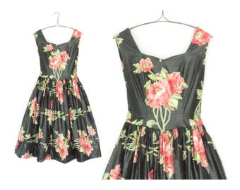 Vintage Floral Dress * 80s does 50s Party Dress * Patio Party Dress * Small