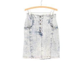 1980s Jean Skirt * Vintage 80s Acid Wash Skirt * Denim Mini Skirt * Medium