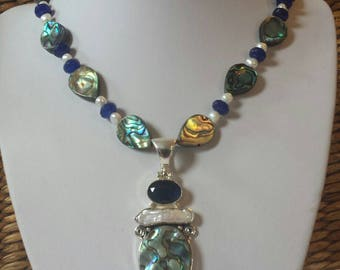 Gorgeous  earthy elegant necklace Sapphire and Abalone Shell
