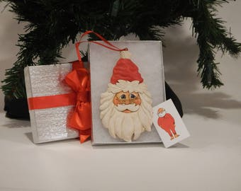 Handcarved santa for saleTomte,Susan L Hendrix WasatchWoodcarver, Christmas ornament.woodcarving artist,designs,tree hanger gift,Jolly Santa