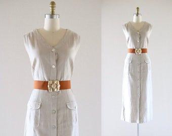 belted linen maxi dress