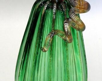 Hand Blown Glass Art Sculpture  Pumpkin Gourd Oneil 7615 Green