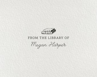 Library Stamp, Book Stamp, Wood Mounted or Self-Inking Stamp, Gifts for Book Lovers, From the Library of, Custom Bookplate - Style #23