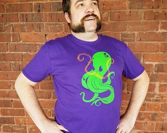 Octostache octopus mustache purple screen print t-shirt