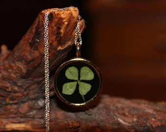 Real Four Leaf Clover Charm Necklace Shamrock Necklace with sterling silver chain