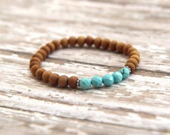 Sandalwood & Turquoise Bracelet, mala beads, natural gemstone jewelry, chakra yoga jewelry, meditation bracelet