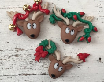 """Reindeer Buttons, Packaged Christmas Novelty Buttons, """"Oh Deer"""" by Dress It Up, Jesse James, Shank Back Buttons, 3 Style Button Package"""