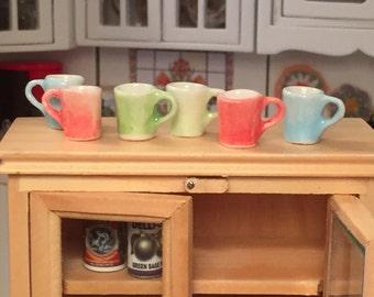 Miniature Colored Coffee Cups, Miniature Mugs, Dollhouse Miniature, 1:12 Scale, Dollhouse Accessories, Decor, Mini Cups, Set of 6 Pieces