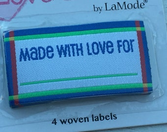 "Iron On Woven Labels, ""Made with Love"", Style 2585, Packaged Set of 4, Labels by LaMode, Labels to Personalize, Sewing, Crafts, Quilting"