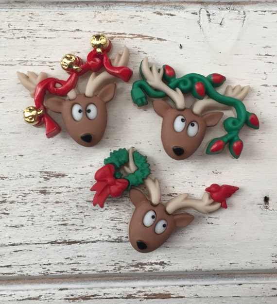 "Reindeer Buttons, Packaged Christmas Novelty Buttons, ""Oh Deer"" by Dress It Up, Jesse James, Shank Back Buttons, 3 Style Button Package"