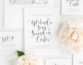 Flowing Calligraphy Wedding Invitations - Sample