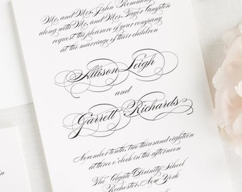 Elegant Script Wedding Invitations - Sample