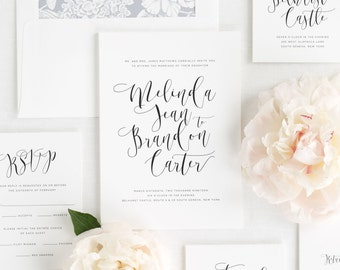 Flowing Calligraphy Wedding Invitations - Sample