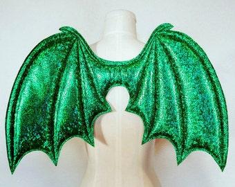 Green Costume Wings, Dragon wings, Halloween costume,  cosplay demon wings, kids dress up wings