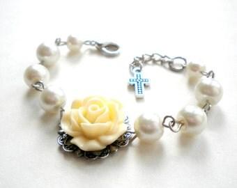 Christening Gift Baptism Bracelet Catholic Bracelet Baby Girl Bracelet Baptism Gift Girl Ivory Flower Bracelet First Communion Gift